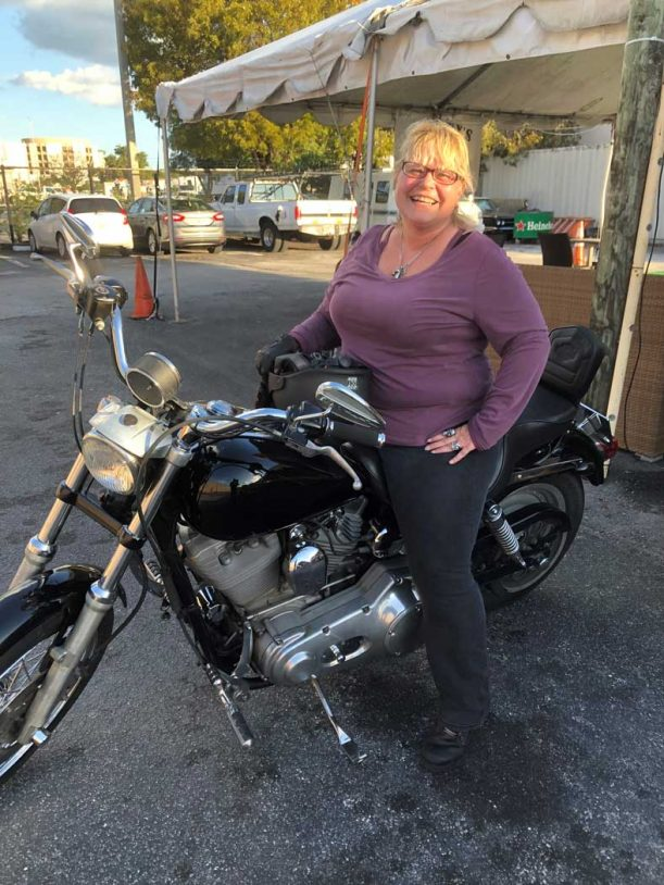 Our Friend And Customer Robin....she Upgraded Her Boyfriends Dyna After He Passed, Got Her Endorsement And We Got Her On The Road Again ! Way To Go Robin!